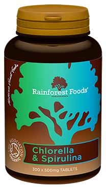 Rainforest Foods Chlorella & Spirulina BIO 500 mg, 300 kapsułek